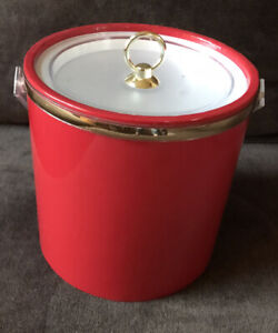 RED VINYL ICE BUCKET CLEAR LUCITE TOP AND HANDLE SHINY EUC
