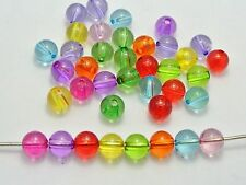 100 Mixed Colour Transparent Acrylic Round Beads 10mm Smooth Ball Beads
