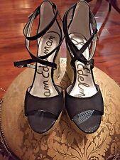 9ca3eecfc52e4f Sam Edelman Black Suede Espadrille Wedge Heel Sandals - 9.5M