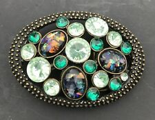Turquoise White Blue Green Big Stones Rhinestones Belt Buckle Buckles