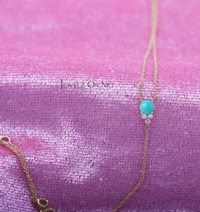 14K Gold Genuine Diamond -Turquoise Gemstone Drop Lariat Necklace Fine Jewelry