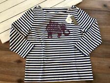 Sz Blockprints for J Crew Women's 3/4 Sleeve Elephant T Shirt - Blue Stripe -Xxs