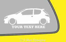2x LOW YOUR TEXT Peugeot 206 HDiGTiRc outline sticker 5
