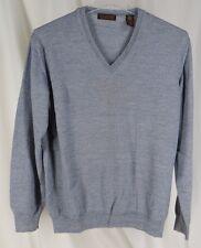 Metropolitan Large  V Neck Sweater 100% Italian Merino Wool Pullover Trad Mens