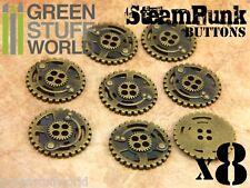 8x Botones RUEDAS DENTADAS SteamPunk 22mm - color Bronce - Abalorios Joyeria