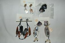 4 pair pierced earrings primitive hearts black dangle drop