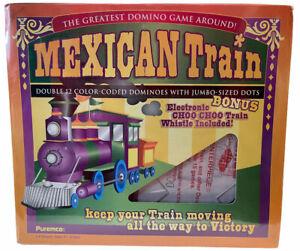 Mexican Train Double 12 Dominoes Jumbo Sized Dots Game New Train Whistle Bonus