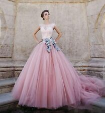 Tulle Long Puffy Wedding Dress Vintage Pink Color Accented Lace Bridal Gown