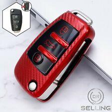 Schlüsselhülle passend für Audi A1 A3 A4 A6 Q3 Q5 Q7 TT Rot Carbon Optik