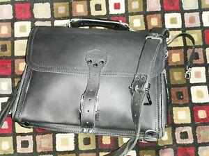 black saddleback Slim Leather Briefcase