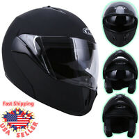 DOT Flip up Modular Full Face Motorcycle Helmet Dual Visor Race Sport Bike Black