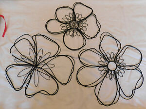 NEW Pottery Barn Teen 3 Pc Wire Icon Flower Wall Art Décor Tropical Floral 3D