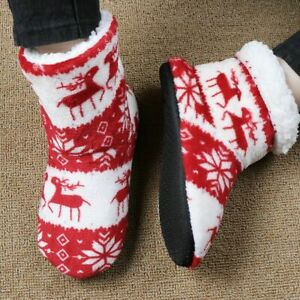 Winter Adults Floor Shoes For Winter Foot Warmer Christmas Print Cotton Material