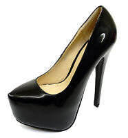 LADIES BLACK PATENT SLIP-ON STILETTO HIGH HEEL PLATFORM COURT PARTY SHOES UK 3-8