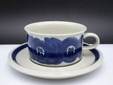 ARABIA FINLAND ANEMONE ULLA PROCOPE BLUE CUP AND SAUCER