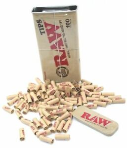 100 RAW Rolling Papers Pre Rolled Tips in Slide Top Storage Tin - RAWTHENTIC