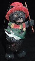 Black Bear Figurine Fisherman North Woods Cabin Decor Rustic Lodge Fishing Fish