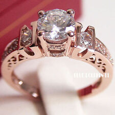 Cubic Zirconia Three-Stone Fine Diamond Rings