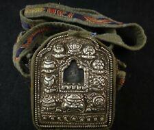 Antique Tibetan Gao Tooled Silver, Copper & Brass Traveling Prayer Box. c 1800's