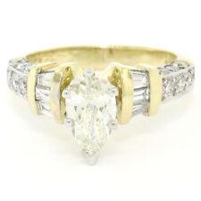 18K TT ORO 1.56ctw PERA diamante solitario fidanzamento anello W/ TONDI &