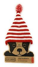PUP CREW DOG HEADPIECE XS/S - RED & WHITE STRIPE STOCKING CAP- 22105181