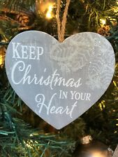 """New Kurt Adler 4"""" Country Home Gray Lace Heart Sentiment Christmas Ornament-Keep"""