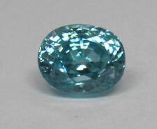 Natural Blue Zircon 3.88 Ct. Oval, Bright Medium Blue