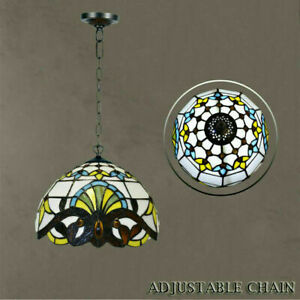 Antique Tiffany style Pendant Shade Lamp Multicolor Stained Glass Design Lamp UK