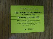 17/07/1986 Biglietto da Golf: 115th Open Championship [a Turnberry] GIALLO. grazie