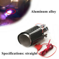 35-61mm Inlet Carbon Fiber Car Exhaust Muffler Pipe Tip w/RED LED Light Straight