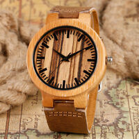 Casual Nature Wood Bamboo Stripe Dial Genuine Leather Band Men Women Wrist Watch