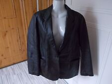 SOFT GREY LADIES  CHOCOLATE BROWN REAL LEATHER JACKET SIZE 18