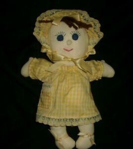 """10"""" VINTAGE BABY GIRL DOLL HAND MADE YELLOW STUFFED ANIMAL PLUSH TOY LOVEY SOFT"""