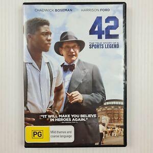42 True Story of Jackie Robinson R4 DVD - Chadwick Boseman, Harrrison Ford