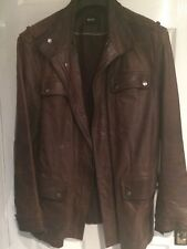 Hugo Boss Men's brown leather jacket XL
