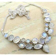Genuine Moonstone 925 Silver Overlay Handmade Fashion Necklace Jewelry new hot