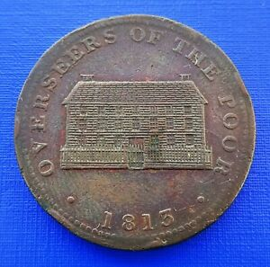 Britain 1813 Sheffield Penny Workhouse Token, Overseers of the Poor~#1213