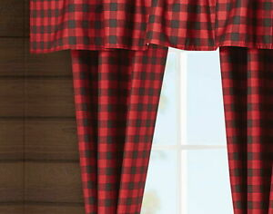 "Buffalo Plaid Red Black Check 84"" 5 pc Curtain Valance Set Country Window Panels"