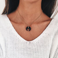 Women Small White Black Simulated Ivory Moon Necklace / Double Horn Crescent  MA