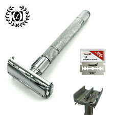 WET MEN'S SHAVE DOUBLE EDGE BUTTERFLY OPENING SAFETY RAZOR + 10 SHAVING BLADE