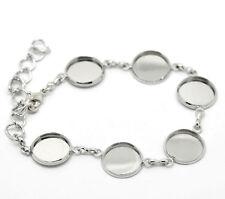 10 Bracelets 6 Cabochons Rond Bijoux Fermoir mousqueton 17cm (pr camée 14mm)