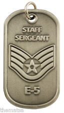 """AIR FORCE STAFF SERGEANT  E-5 ENGRAVABLE REGULATION  METAL DOG TAG 24"""" CHAIN"""