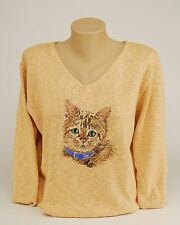 Hand Painted Cat/Kitten Portrait Cotton Knit Sweater. NEW PAINTED FOR YOU!
