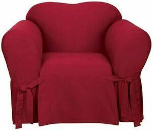 sure fit Cotton Duck One Piece Straight Skirt box Chair Slipcover  Claret NEW