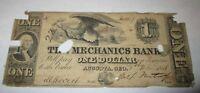 $1 1858 Augusta Georgia GA Obsolete Currency Bank Note Bill Mechanics Bank Of GA