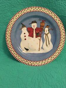 """Vintage Debbie Mumm Stoneware """"Snowman"""" 12  1/2"""" Round Platter ~ Plate By Sakura"""