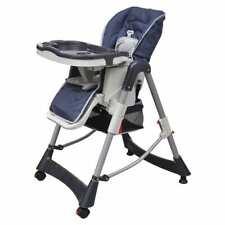 Vidaxl trona altura ajustable reclinable almohadillada azul silla alta de Bebé