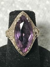 ANTIQUE 14K WHITE GOLD AMETHYST FILIGREE RING  Size 4.5+