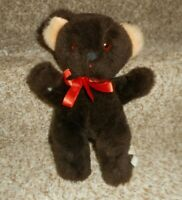 "10"" VINTAGE THE RUSHTON COMPANY BROWN TEDDY BEAR W/ BOW STUFFED ANIMAL PLUSH TOY"