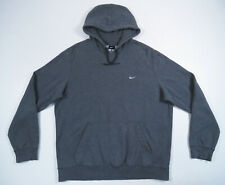 Nike Mens Dark Heather Gray White Sewn Swoosh Hooded Sweatshirt Hoodie XL